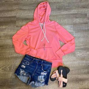 aerie Pink Hoodie Full Zip Sweatshirt L